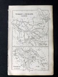 Cornwell & Dower 1849 Antique Map. Turkey in Europe & Greece